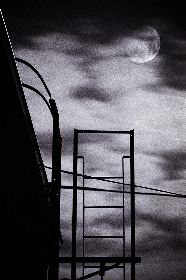Moon Over Brooklyn Rooftop Photograph