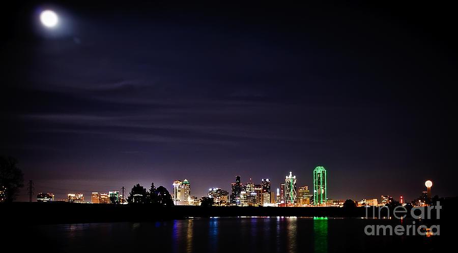Moon Over Dallas Photograph