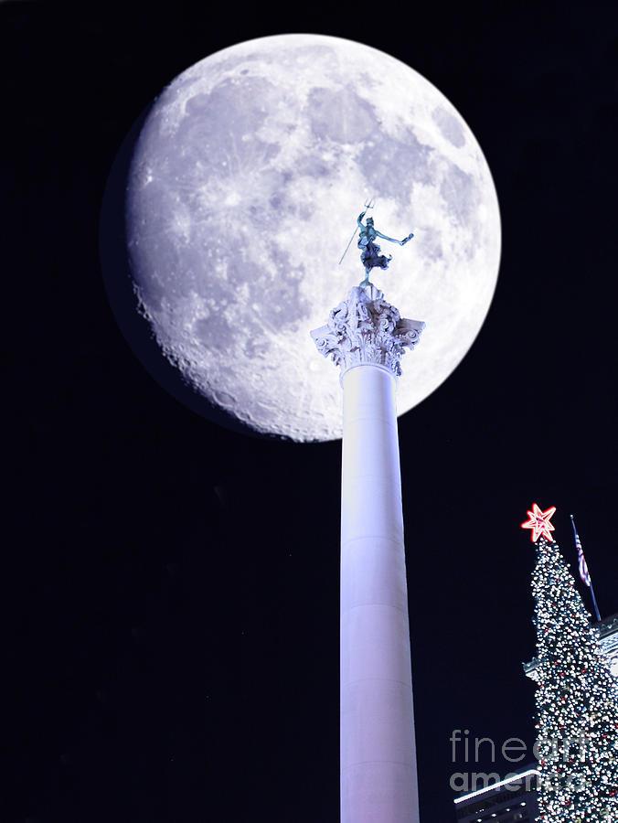 Moon Over Dewey Photograph