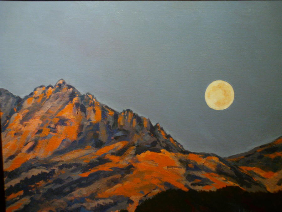Moon Over Electric Peak Painting