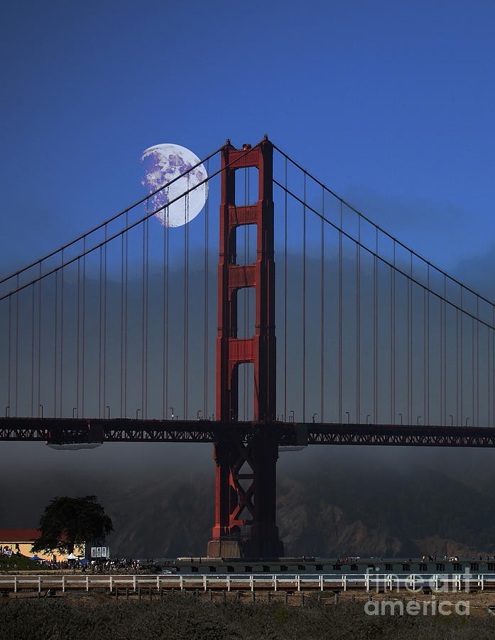 Moon Over Foggy Golden Gate Bridge . Vertical Photograph  - Moon Over Foggy Golden Gate Bridge . Vertical Fine Art Print