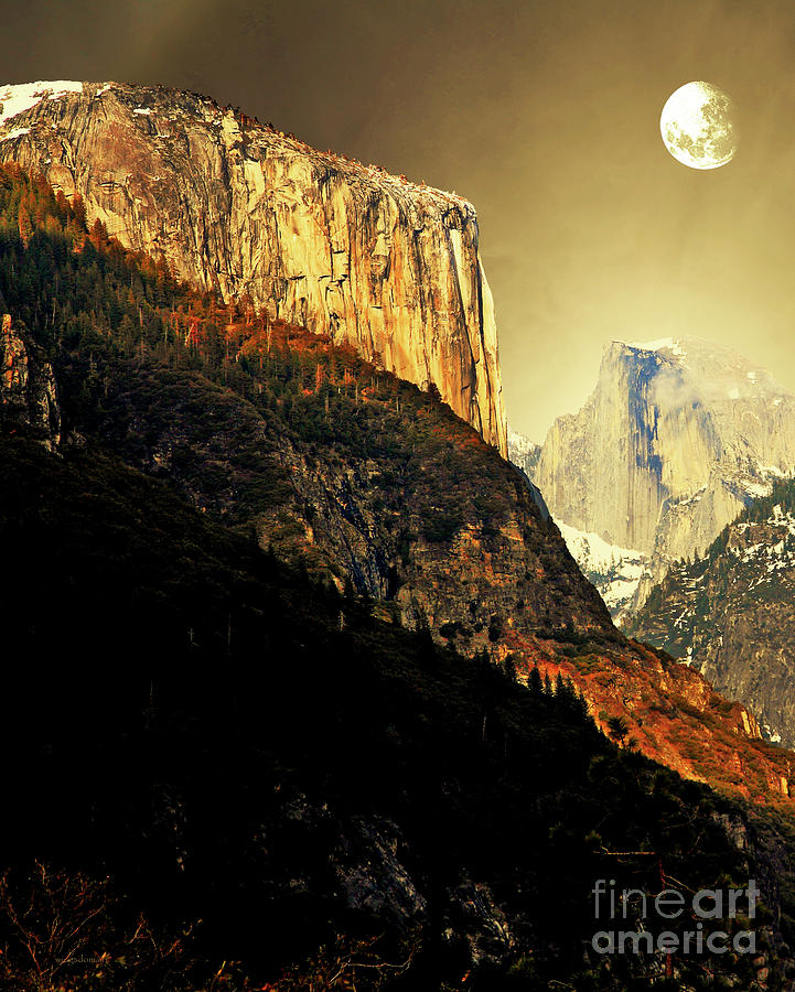 Moon Over Half Dome . Portrait Cut Photograph