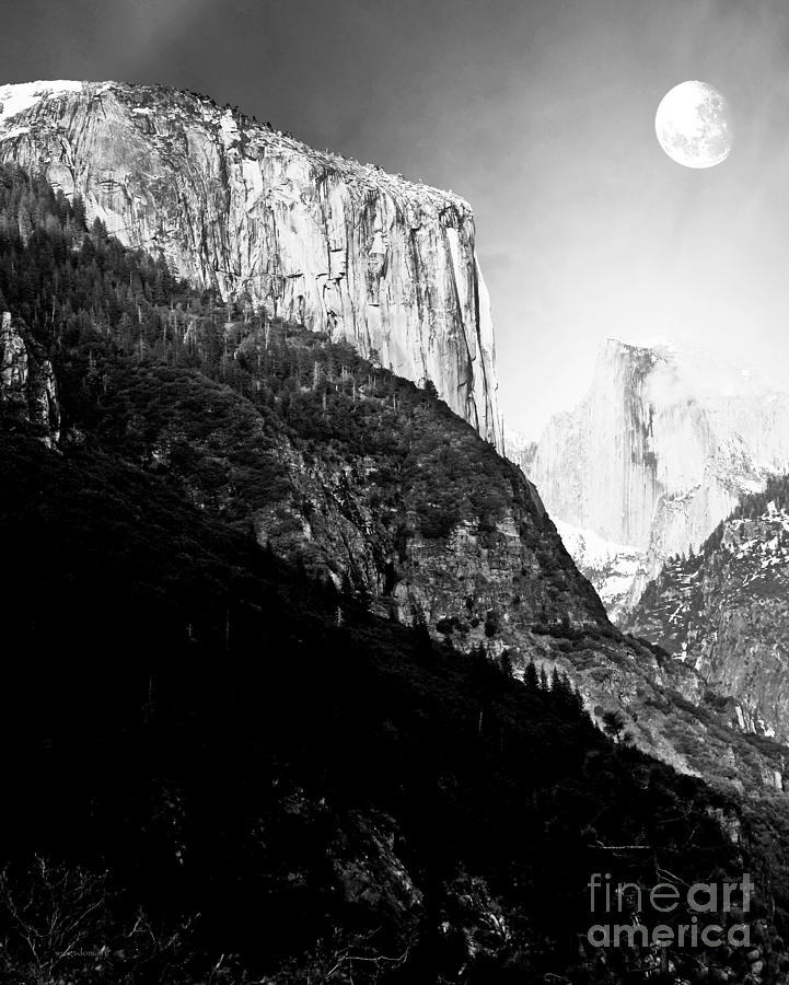 Moon Over Half Dome . Black And White Photograph