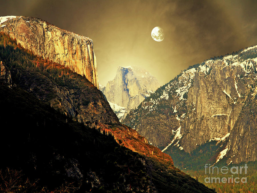 Moon Over Half Dome Photograph