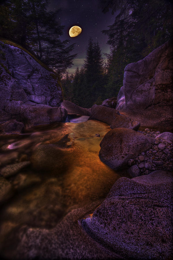 Moon Over Humphrey Falls Photograph  - Moon Over Humphrey Falls Fine Art Print