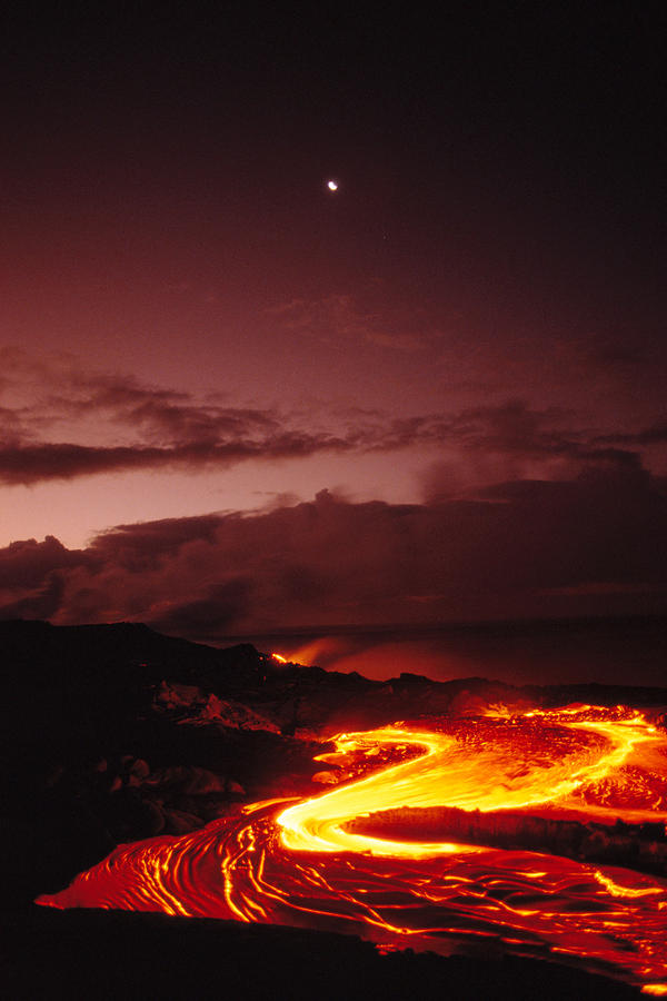 Moon Over Lava At Dawn Photograph