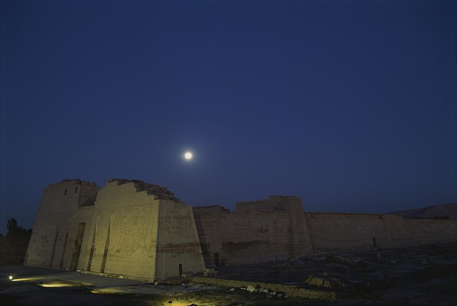 Moon Over Medinet Habu, The Temple Photograph  - Moon Over Medinet Habu, The Temple Fine Art Print