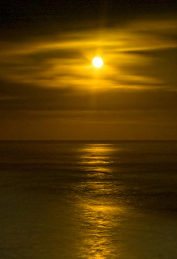 Moon Over Pacific Photograph  - Moon Over Pacific Fine Art Print