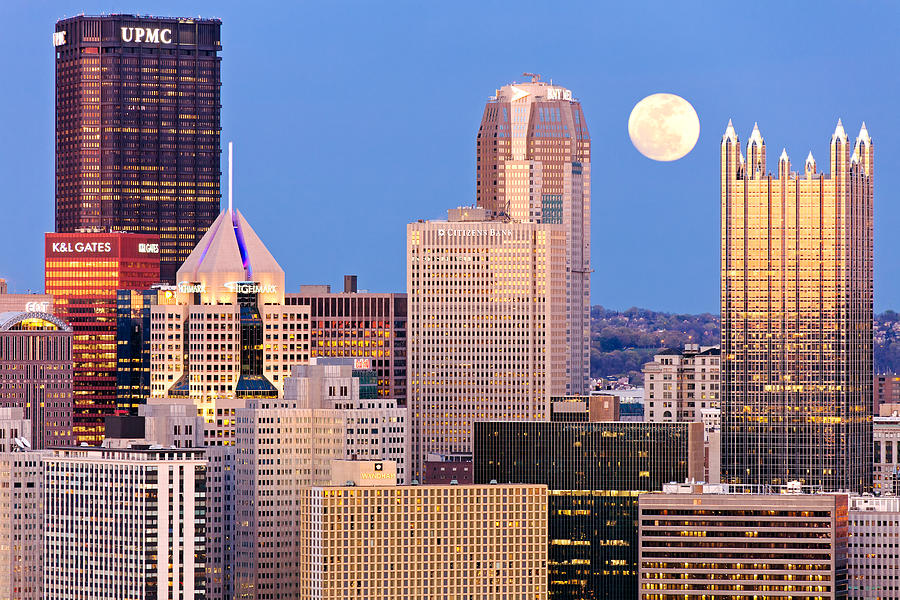 Moon Over Pittsburgh 2 Photograph  - Moon Over Pittsburgh 2 Fine Art Print
