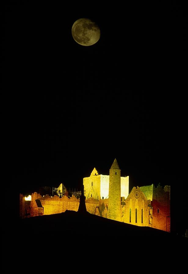 Moon Over Rock Of Cashel, Co Tipperary Photograph