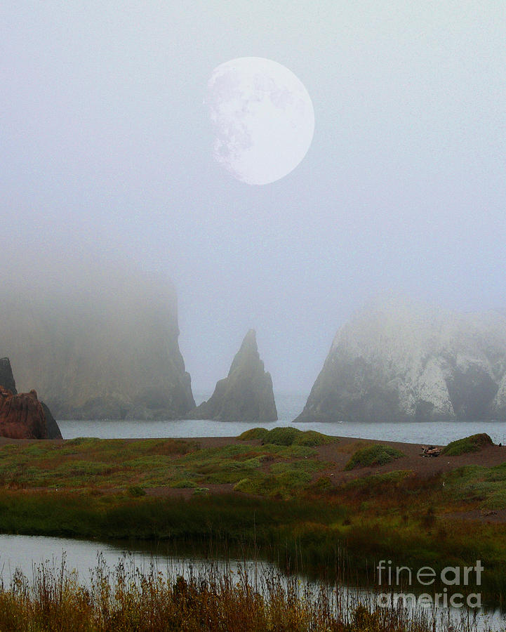 Moon Over Rodeo Beach Photograph