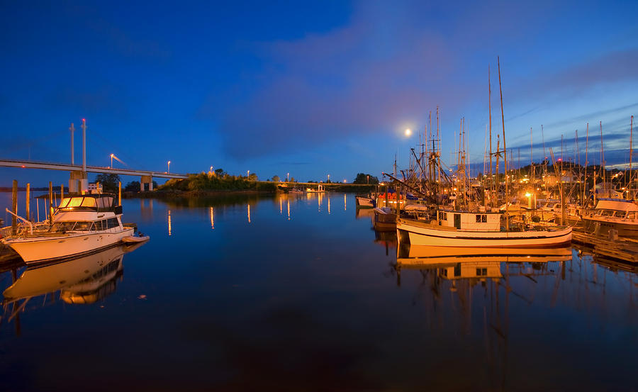 Moon Over Sitka Marina Photograph  - Moon Over Sitka Marina Fine Art Print