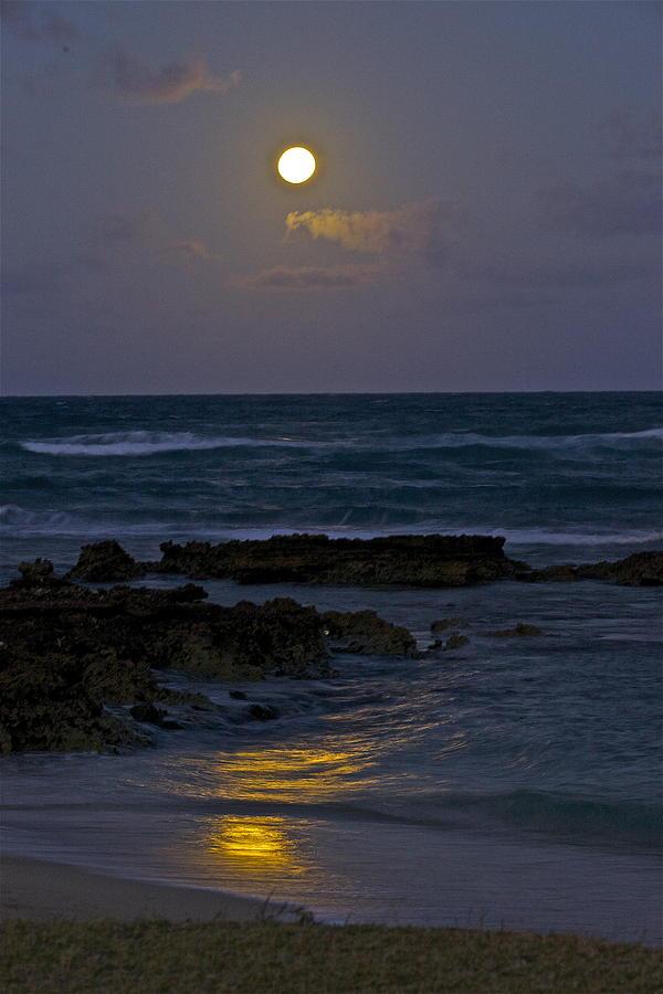Moon Over The Beach 2 Photograph