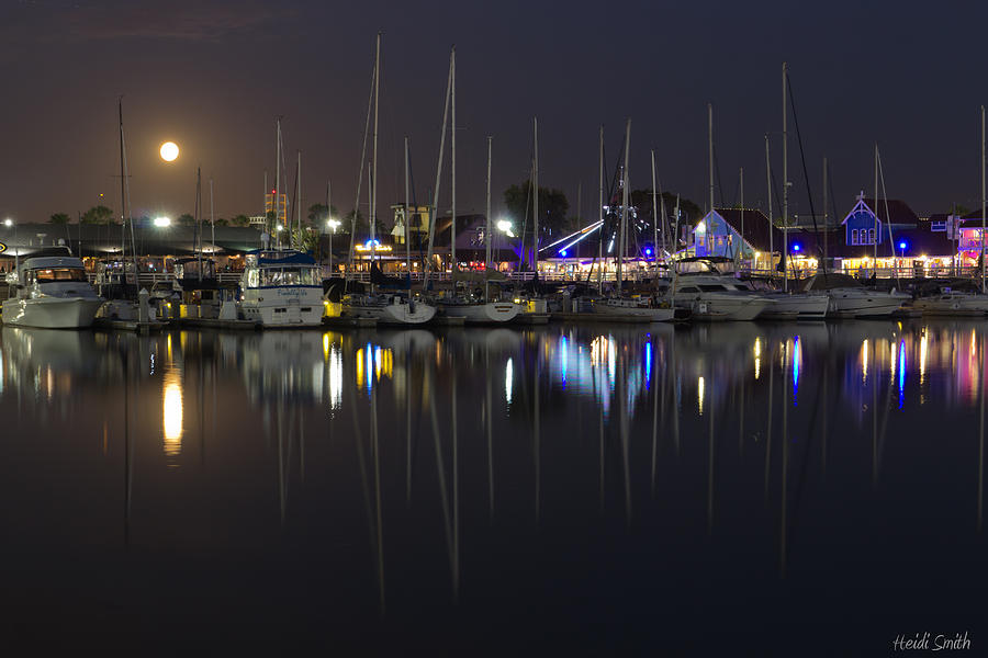 Long Beach Photograph - Moon Over The Marina by Heidi Smith