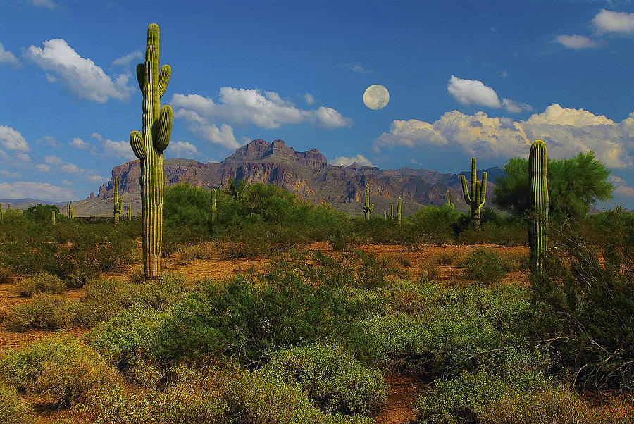 Moon Over The Superstition Mtn Mixed Media  - Moon Over The Superstition Mtn Fine Art Print