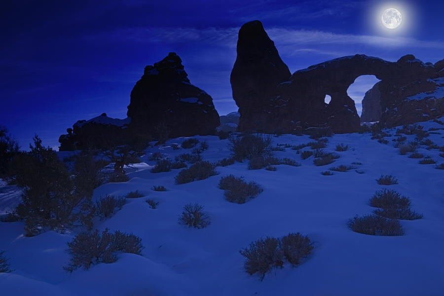 Moon Over Turret Arch Photograph
