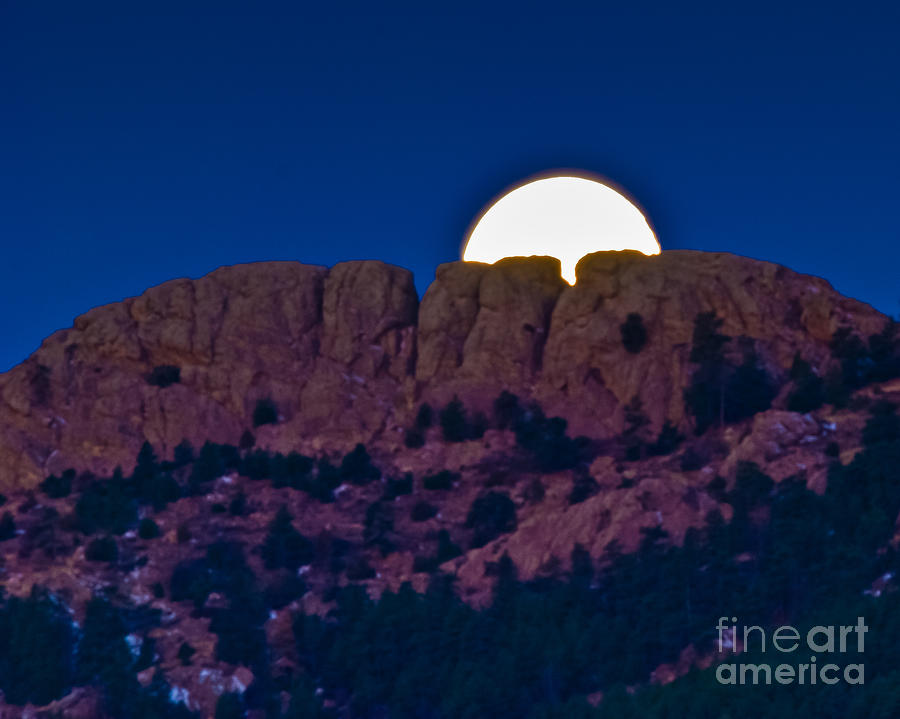 Moon Setting Behind Horsetooth Rock Photograph  - Moon Setting Behind Horsetooth Rock Fine Art Print