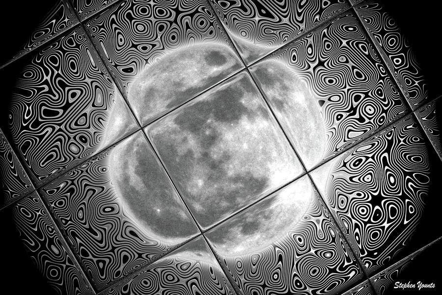 Moon Tile Reflection Digital Art  - Moon Tile Reflection Fine Art Print