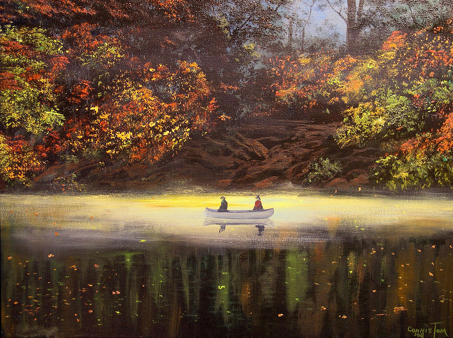 Moonlight Canoeing Painting  - Moonlight Canoeing Fine Art Print