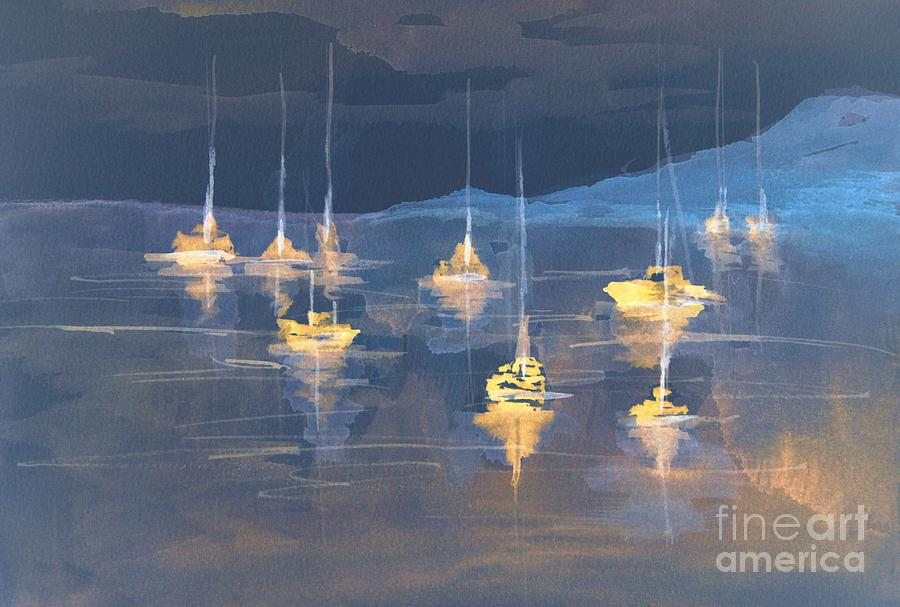 Moonlight Sailing Painting  - Moonlight Sailing Fine Art Print