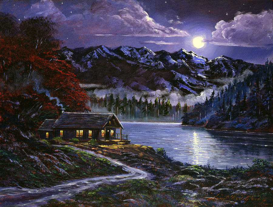 Moonlit cabin painting by david lloyd glover for Log cabin painting