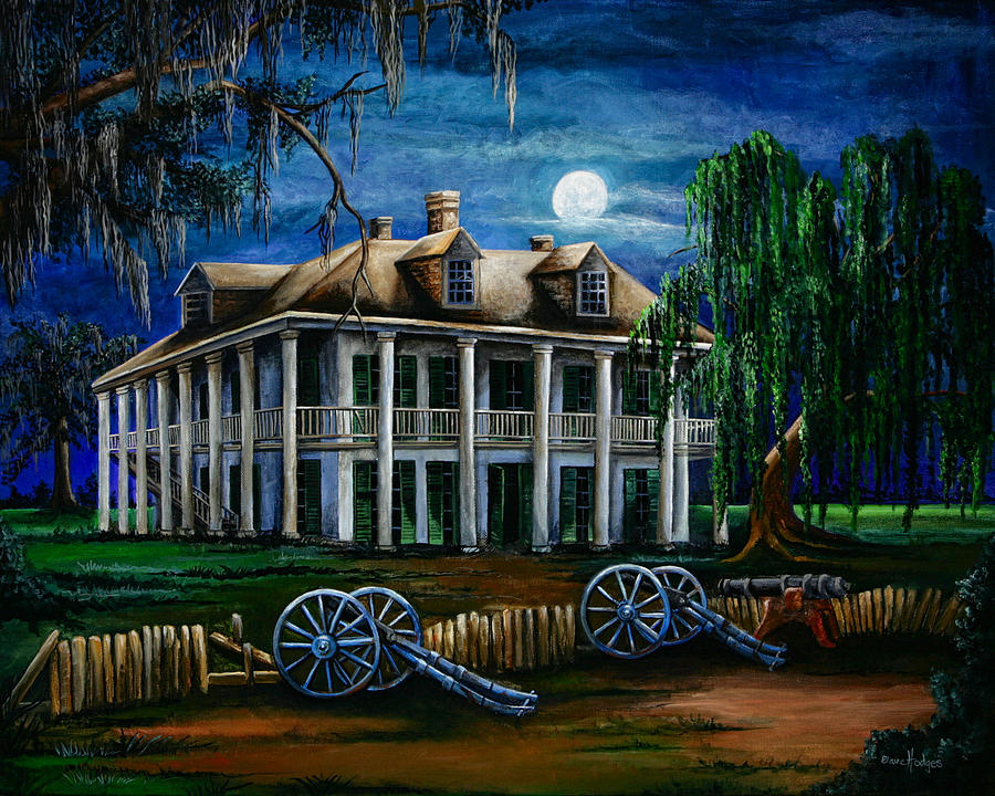 Moonlit Plantation Painting  - Moonlit Plantation Fine Art Print
