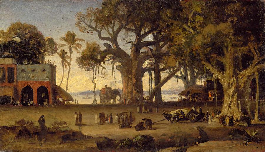 Moonlit Scene Of Indian Figures And Elephants Among Banyan Trees Painting