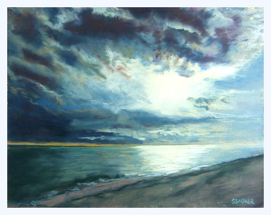 Seascape Pastel - Moonlit Sea by Sue Gardner