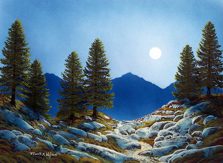 Moonlit Trail Painting  - Moonlit Trail Fine Art Print