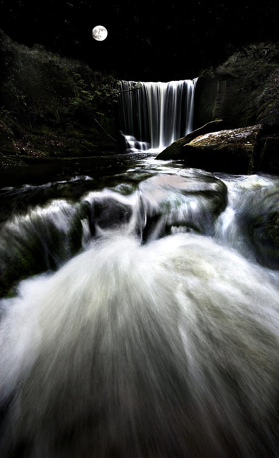 Moonlit Waterfall Photograph