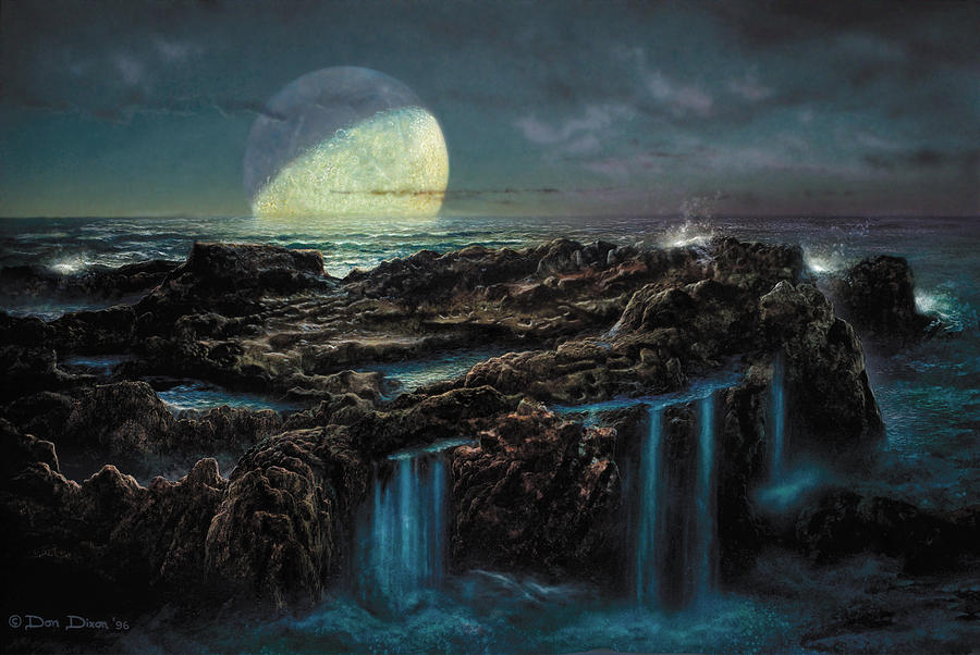 Moonrise 4 Billion Bce Painting  - Moonrise 4 Billion Bce Fine Art Print