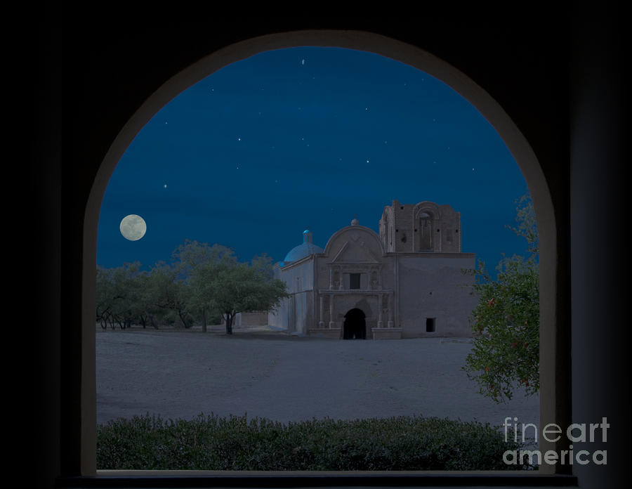 Moonrise On Tumacacori Mission Photograph  - Moonrise On Tumacacori Mission Fine Art Print