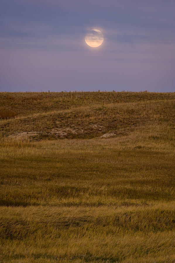 Moonrise Over Badlands South Dakota Photograph