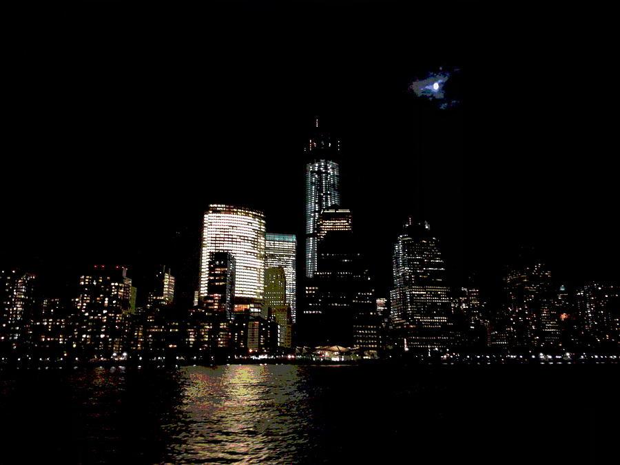 Moonrise Over Freedom Tower Photograph  - Moonrise Over Freedom Tower Fine Art Print