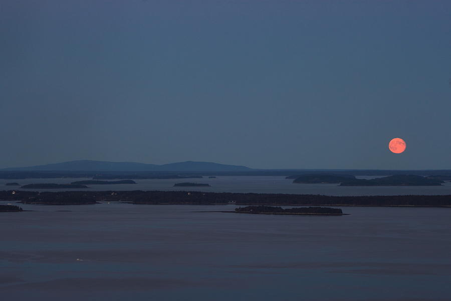 Camden Hills State Park Photograph - Moonrise Over Penobscot Bay And Acadia National Park From Camden Hills by John Burk