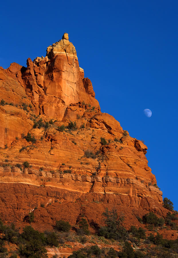 Moonrise Over Red Rock Photograph