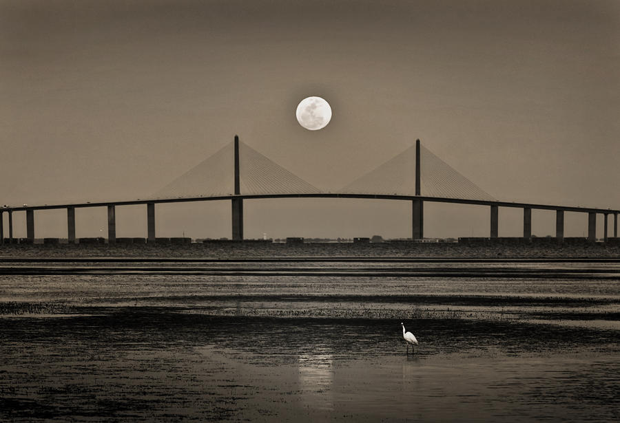 Moonrise Over Skyway Bridge Photograph