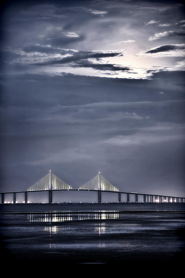 Moonrise Over Sunshine Skyway Bridge Photograph