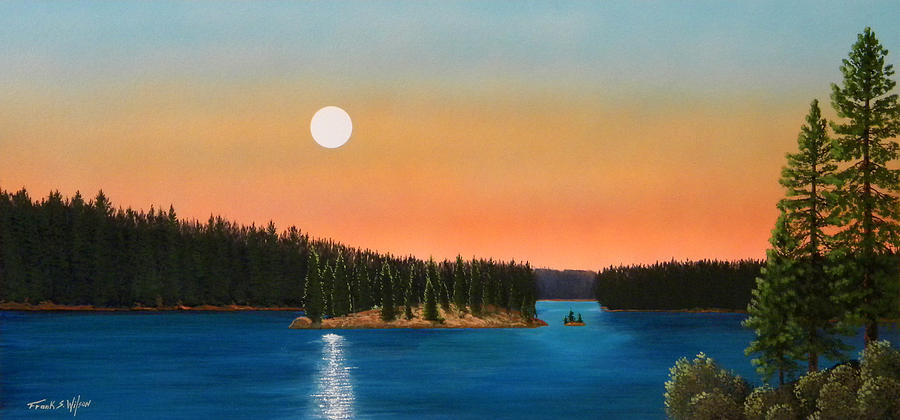 Moonrise Over The Lake Painting  - Moonrise Over The Lake Fine Art Print