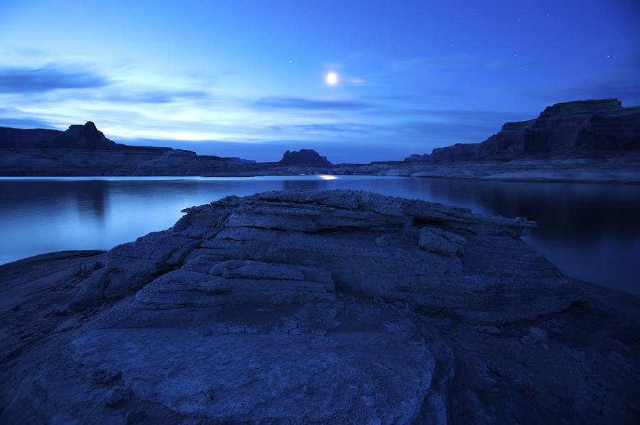 Moonrise Over West Canyon And Lake Photograph