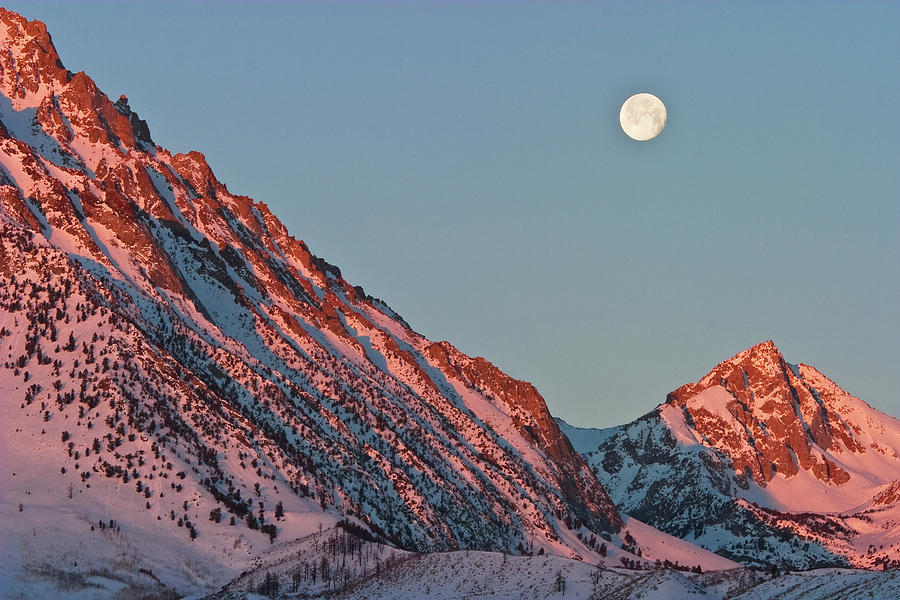 Moonset From The Buttermilks Photograph