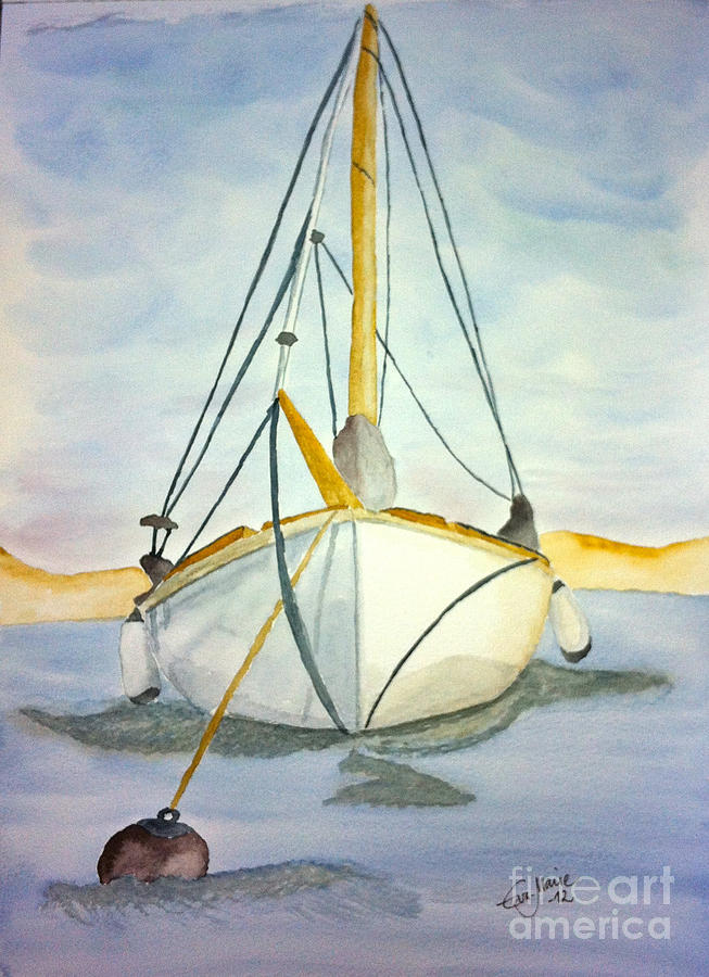 Moored At Sea Painting