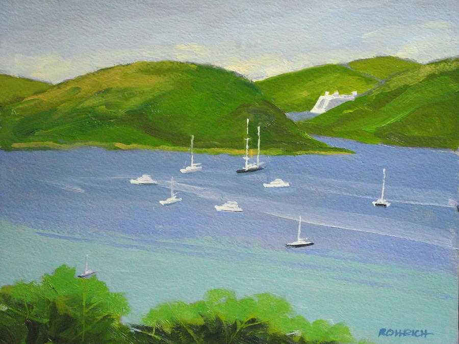 Moored Boats In Charlotte Amalie Bay Painting  - Moored Boats In Charlotte Amalie Bay Fine Art Print