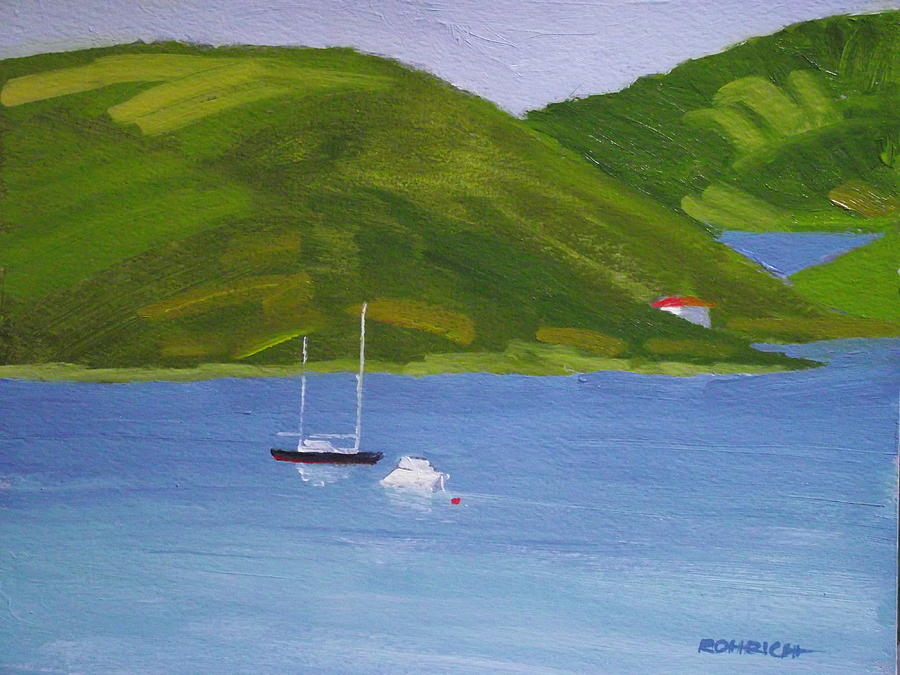 Moored Ketch At Hassel Island Painting  - Moored Ketch At Hassel Island Fine Art Print