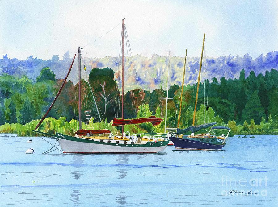 Moored Ketch Painting  - Moored Ketch Fine Art Print