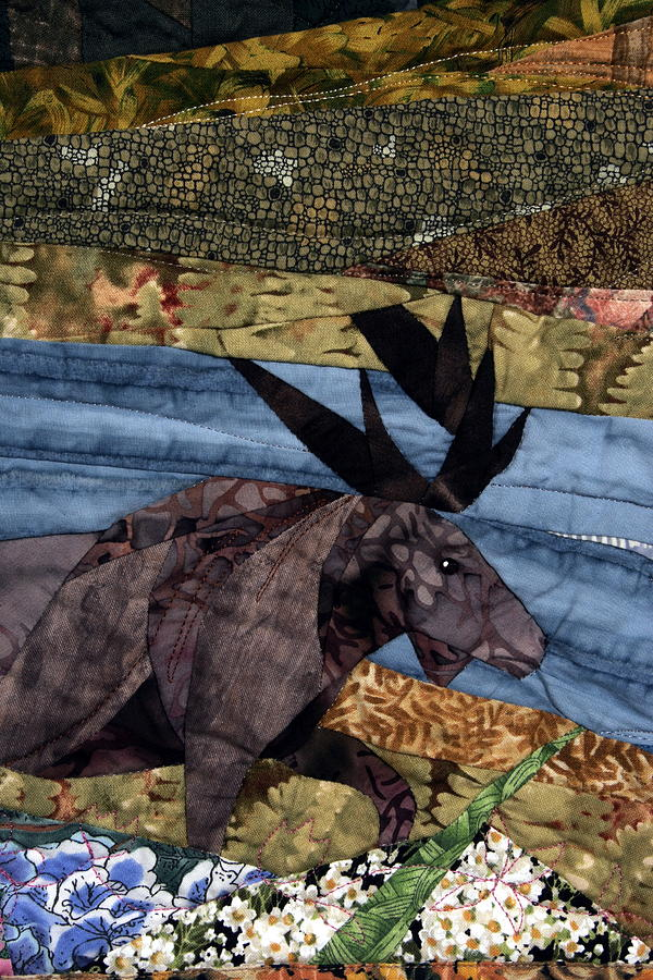 Moose Amongst The Flowers Tapestry - Textile  - Moose Amongst The Flowers Fine Art Print