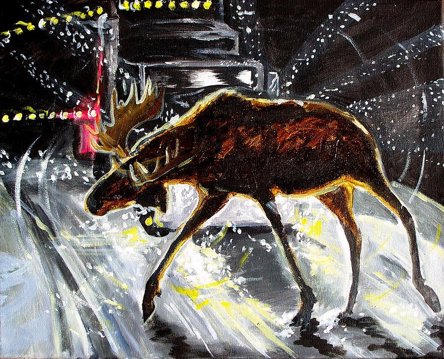 Moose Crossing Painting