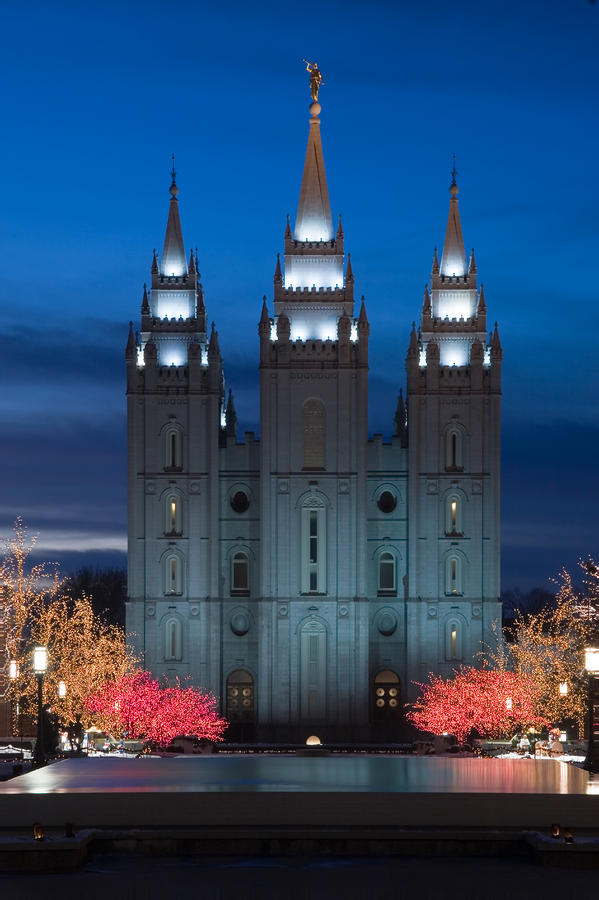 Mormon Temple Christmas Lights Photograph  - Mormon Temple Christmas Lights Fine Art Print