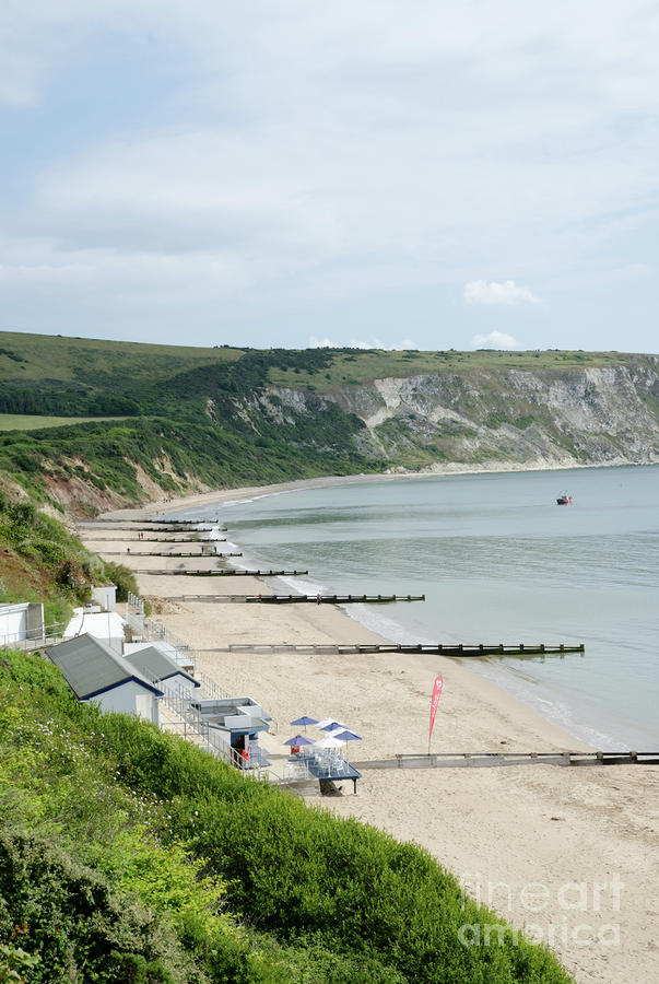 Morning Bay Pt Looking Up Swanage Bay On A Summer Morning Beach Scene Photograph