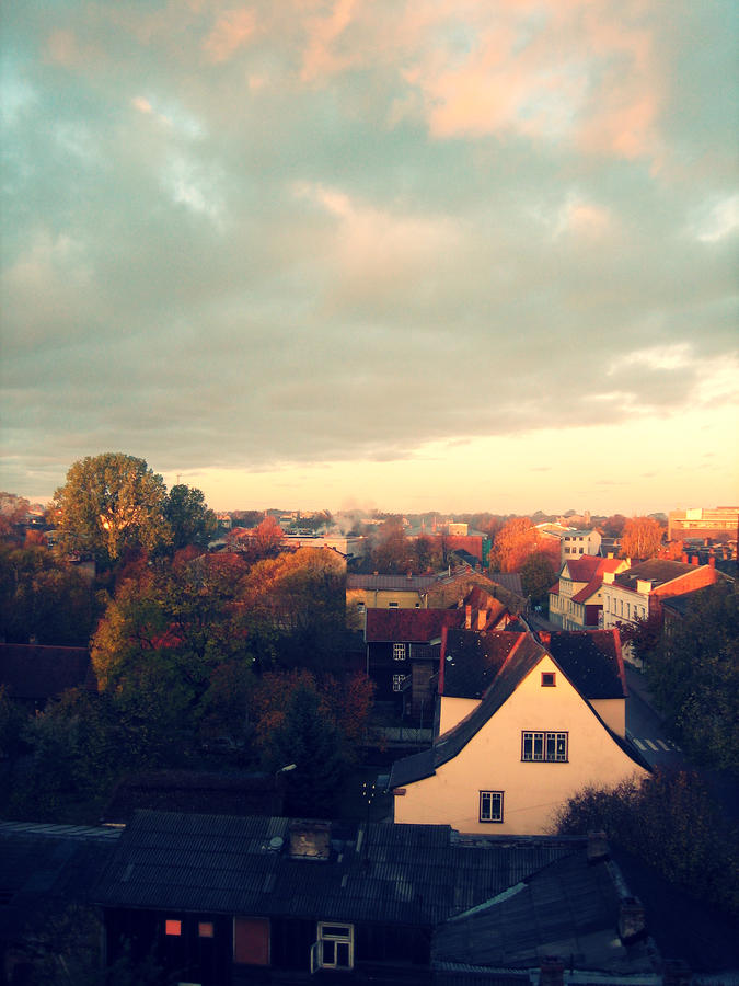 Landscape Photograph - Morning In The Town by German Savchishen